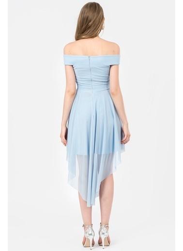 İroni Abiye Elbise Mavi